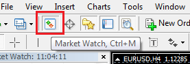 If you suddenly couldn't find the desired pair in the list, but you are sure that the broker provides it for trading, initiate the market overview or press Ctrl+M: