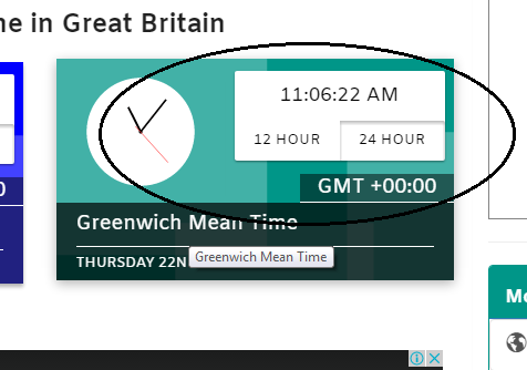 Click on the Greenwich Mean Time link.