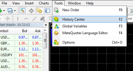 Open the Service tab -> Quotations History or click F2 to make the quotes of the required pair become available in the terminal for testing.