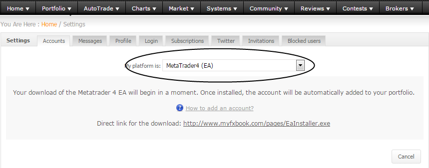 Thus, having clicked the Add Account button in the Settings section, select Metatrader 4 (EA).